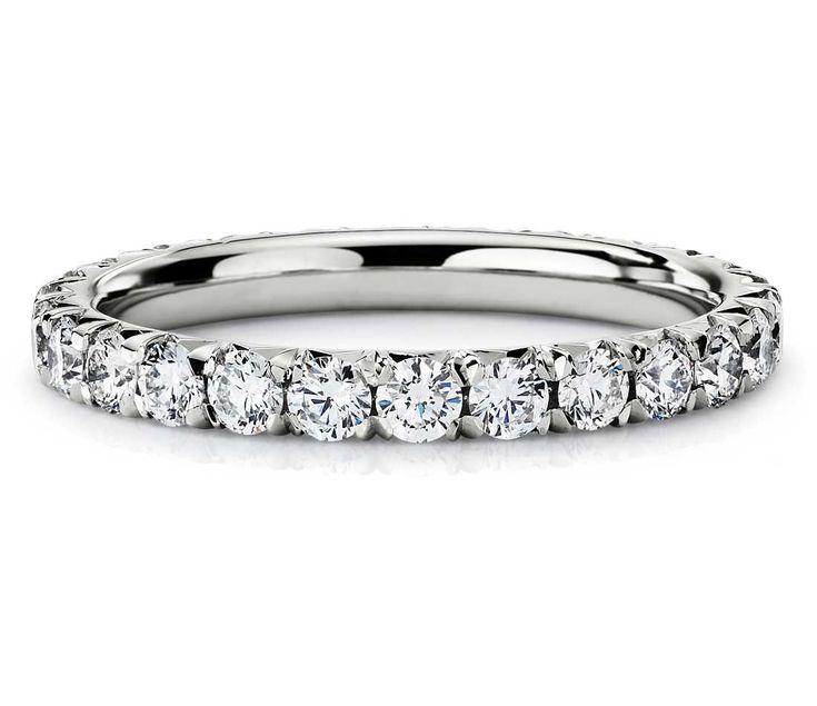 French Pavé Diamond Eternity Ring in Platinum 1ct