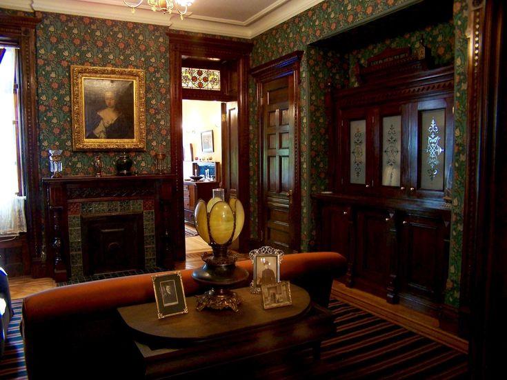 brownstone interior brooklyn restored plaster william morris wallpaper period furnishings eastlake built in ingrain carpet