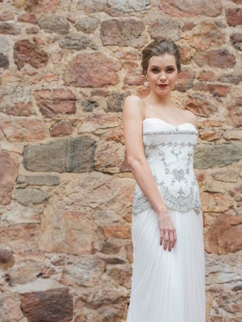 Portia OCC 103T French beaded lace with silk satin and silk tulle draped skirt