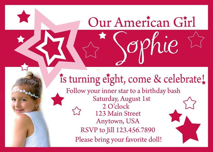 American Girl Birthday Invitation