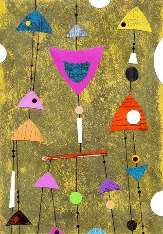 Mid century abstract art collage gold ochre pink by artbeadbutton, £22.00    ...BTW,Please see:  http://artcaffeine.imobileappsys.com