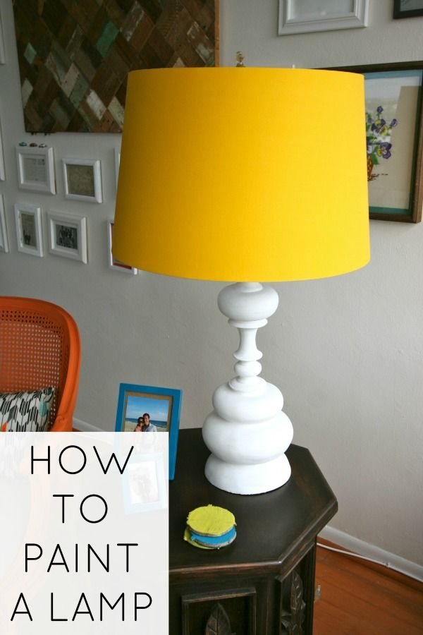 How to paint a lamp (use water to thin paint!) plus I love the YELLOW lamp shade…