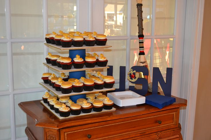 Like the display decoration for cupcakes being served at my sons Graduation / US Navy Going Away party.