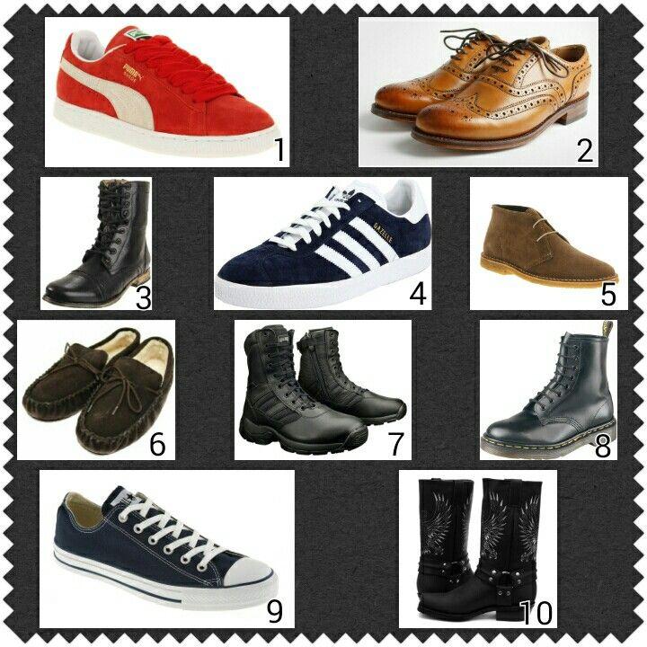 Footwear 1: Puma Classic. 2: Brown Brogues. 3: Biker Boots.