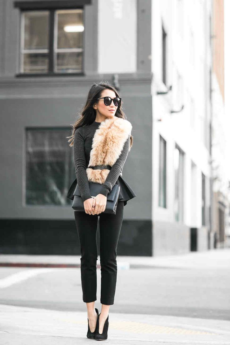 Peplum top, slim pants and faux fur stole