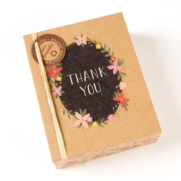 how to write thank you notes for wedding gift cards%0A Floral Wreath Thank You Boxed Notes  Set of