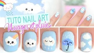 Nail art kawaii | Clouds nail art design