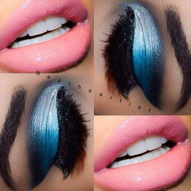 Electric Blue with Pink Lips, Wow!!
