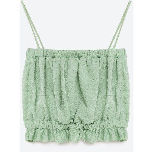 TOP BANDEAU (£8.35) ❤ liked on Polyvore featuring tops, shirts, zara, bandeau shirt, green shirt, shirt top, green top and green bandeau top