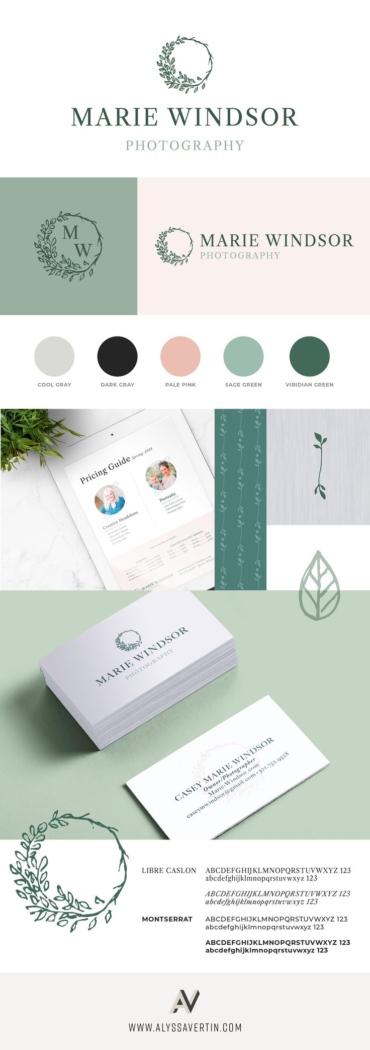 Alyssa Vertin Design | Branding and logo for Marie Windsor Photography