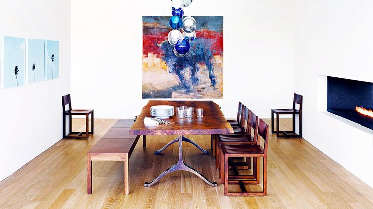 7 Household Uses for White Vinegar // built in fireplace, dining room bench, abstract art