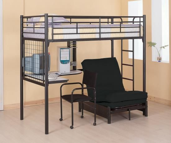 DealBeds.com - Coaster Dynamic Twin Loft Bunk Bed with Futon Chair