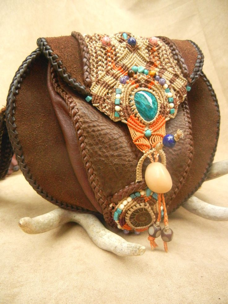 Leather Purse Laced and Inlaid with Micro Macrame and Stones