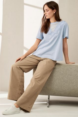 Buy Tan Wide Leg Cotton Trousers from the Next UK online shop