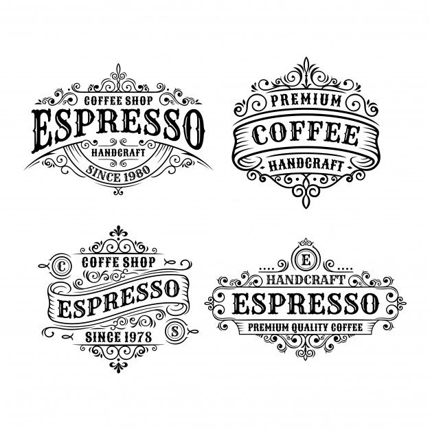 Set Of Vintage Coffee Label Design Calligraphy And Typography Elements Styled Design Coffee Label Vintage Typography Vintage Typography Design