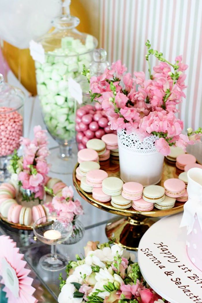 Macarons + Florals from a TeddyBear Forever Friends Birthday Party