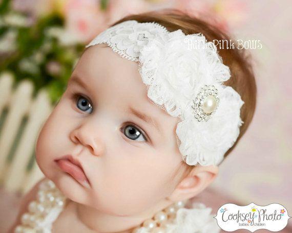 White baby Headband, shabby chic headband, christening headband, baptism Headband,Lace  Headband, girl headband, baby bows, Hair bows on Etsy, $9.95