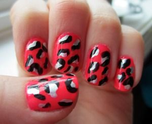 Hot Pink with Leopard Spots - China Glaze's Pool Party Essie's No Place Like Chrome Sally Hansen Black Out
