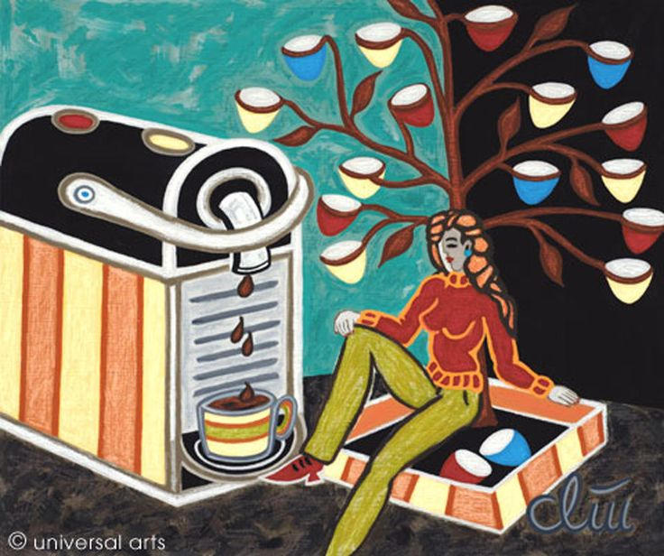 JACQUELINE DITT- Under the Coffee Capsule Tree A4 DRUCK n.Gemälde Kaffee Kapseln