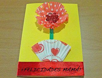Postal de flor para niños