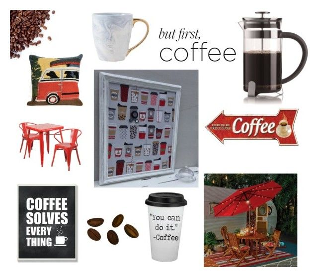 """Coffee"" by info-521 on Polyvore featuring interior, interiors, interior design, thuis, home decor, interior decorating, Liora Manné, Flash Furniture, Improvements en Stupell"