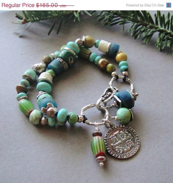 SALE 30% OFF Artisan Jewelry, Two Strand, Turquoise, African Trade Beads, Artisan Silver, Antique Beads, Bracelet, Sundance Style. $115.50, via Etsy.