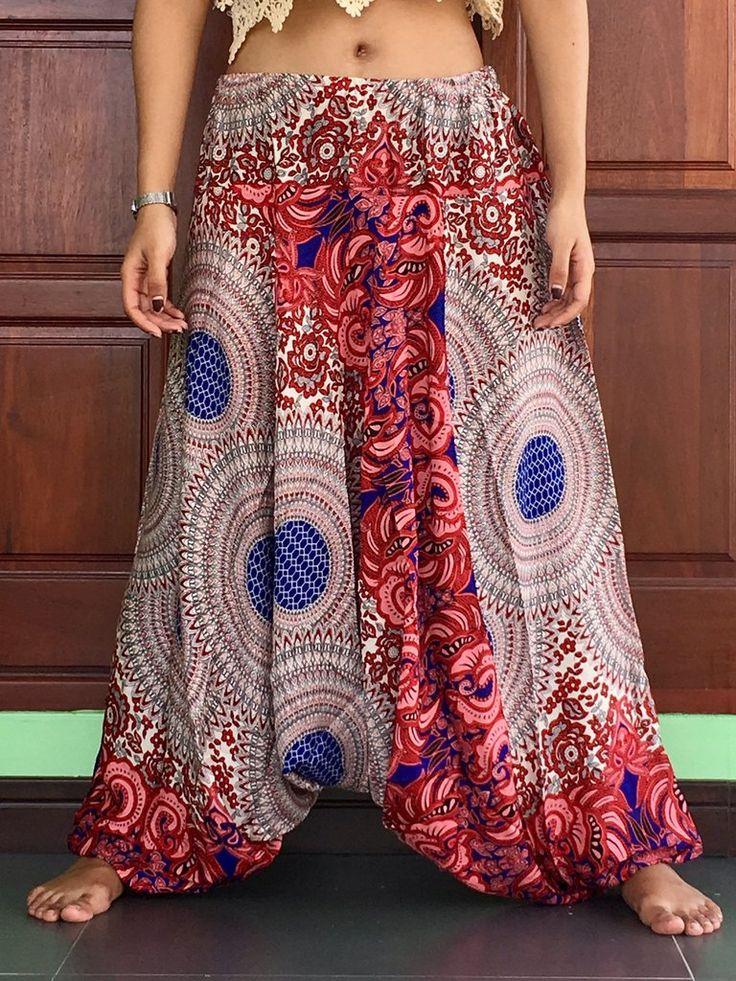 Plus Size Unisex balloon Red harem cargo pants summer Aladdin elastic trousers mens