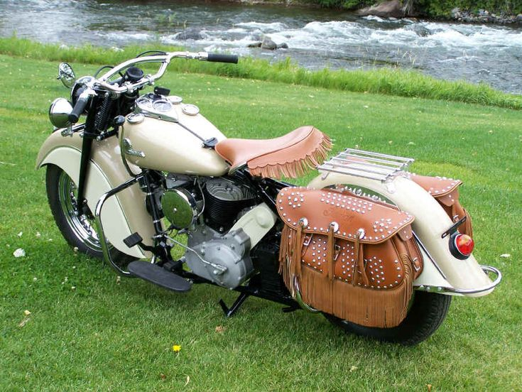 1946 Cream Colored Indian Motor Cycle rebuilt by Jeff Grisby ~Indian Motor Works Bayfield,CO.