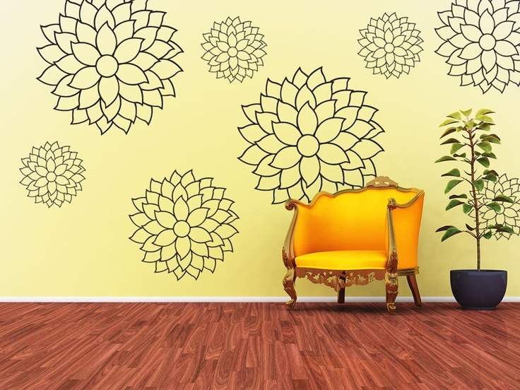 Vinyl Wall Decal Sticker Art - Cheerful and Delicate Mums. $59.95, via Etsy.