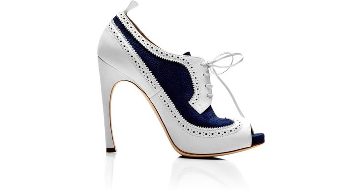 Buy Thom Browne Women's Peep Toe Wingtip Brogue in Navy and White Nubuck Leather, starting at $1100. Similar products also available. SALE now on!