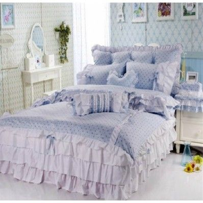 Blue Polka Dot Girls Lace Bowtie Princess Bedding