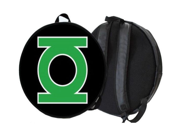 Mochila redonda Linterna Verde, logo. 46cm Estupenda mochila, unisex, basada en el personaje de DC cómics, Linterna Verde (Green Lantern).