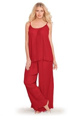 Sleep set pajamas in pleated georgette by Amoureuse®   Plus Size Sleepwear   Jessica London