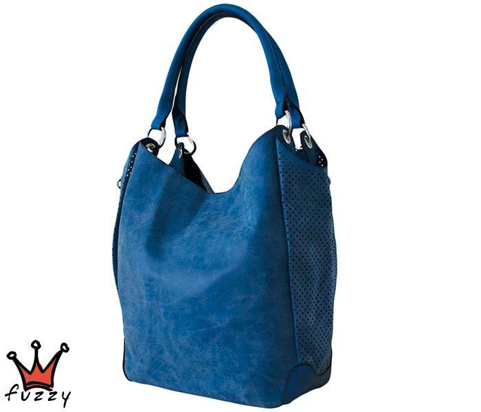 Τσάντα γυναικεία σε μπλε χρώμα, απομίμηση δέρμα, αποσπώμενο εσωτερικό μεγάλο πορτοφόλι με τρεις θήκες. Έξτρα λουράκι ώμου. Διαστάσεις 40 Χ 30 εκ.