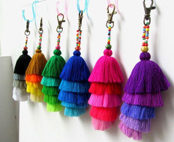 Check out Bling Tassel Keychain Layered Tassel Keyring Jazzy Tassel Key Holder Tassel Colorful Purse Charm Wholesale Tassels Gift for Her on midgetgems
