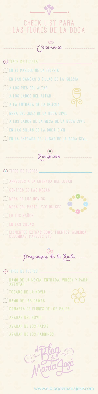 Checklist para las flores de la boda