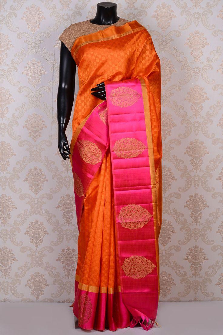 Orange divine kanchipuram silk saree with deep pink border-SR17206 - Pure Kanchipuram Real Zari - PURE HANDLOOM SILK SAREE - Sarees