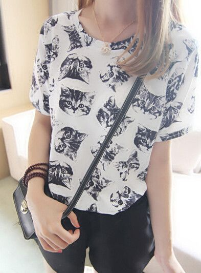 Japanese kawaii cats printed t-shirts