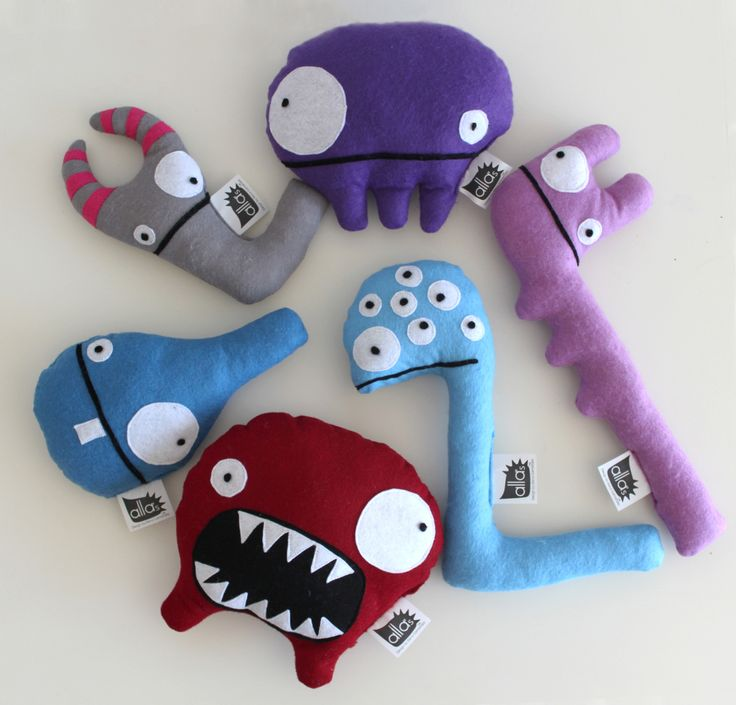 "ECO_Toys design ""NO waste!"". Design by Elena Salmistraro              All monsters are made by using industrial production waste material felt (pannolenci) cloth."