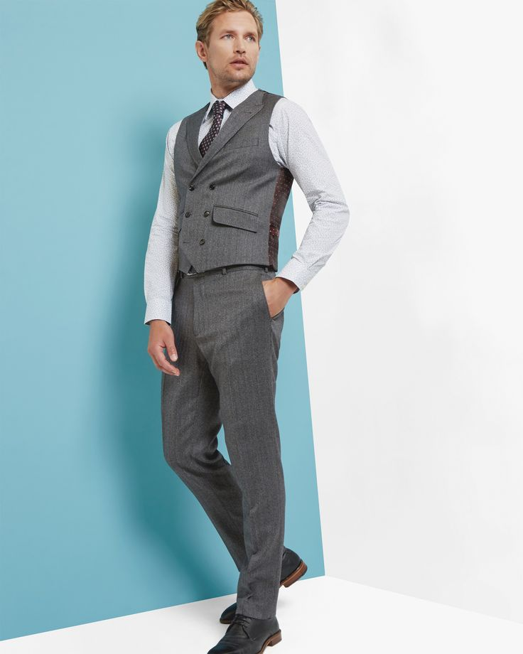 Sterling herringbone wool waistcoat - Grey   Suits   Ted Baker ROW Around $160.