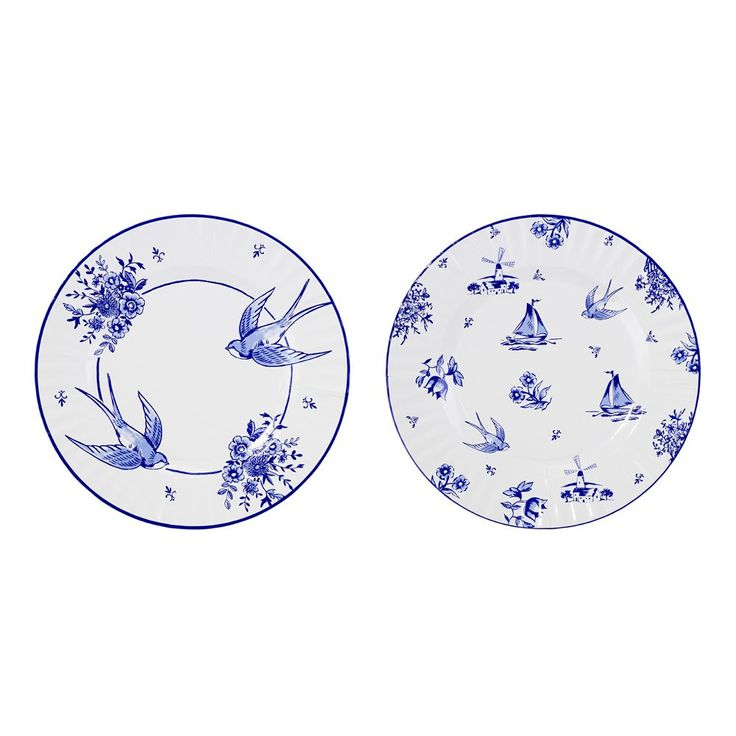 Party Porcelain Blue Large Paper Plates Swallows - This party porcelain is in fact paper! No fine china required!  Our paper plates are cleverly created with decorative blue and white designs normally only seen on fine crockery.  8 blue and white paper plates in 2 designs. Size: 27cm diameter