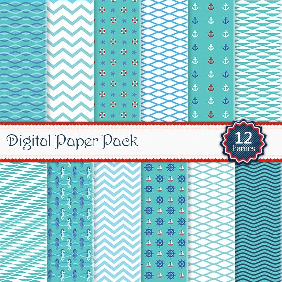 Sea Design Elements Papers Digital background by SollaDesign, $3.50