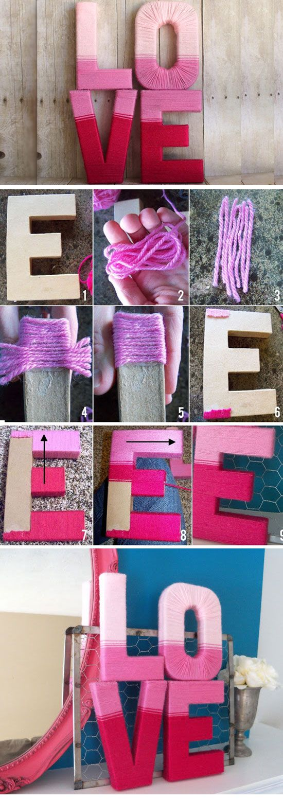 Love Yarn Letters | Click Pick for 26 DIY Romantic Valentines Day Ideas for Him | Handmade Valentines Day Gift Ideas for Boyfriends