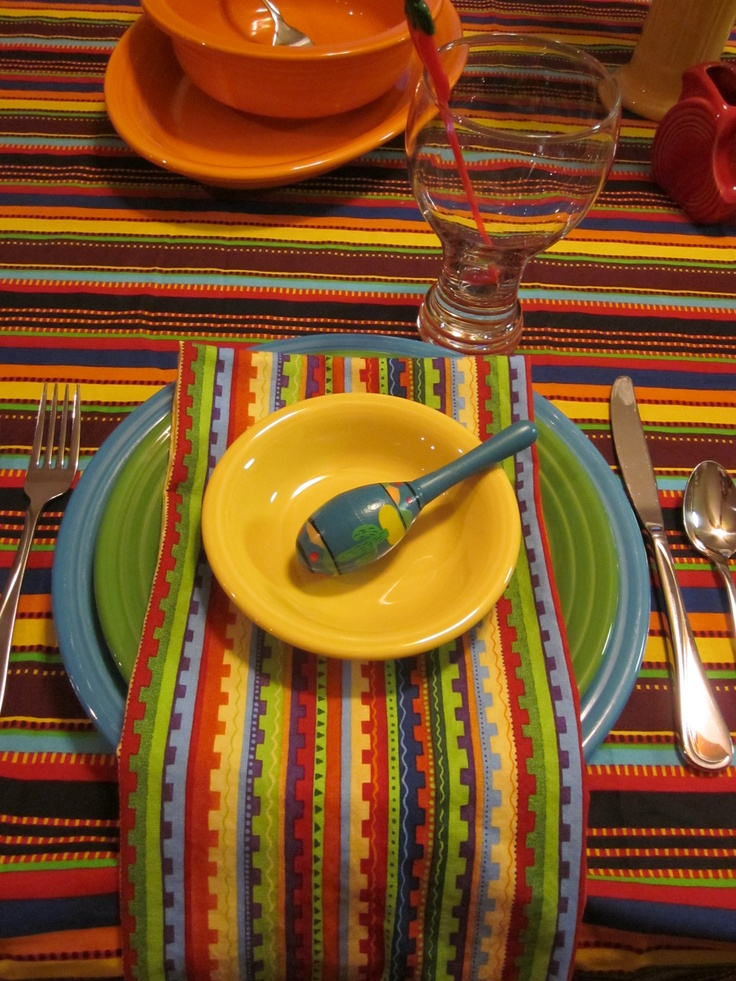 Cinco De Mayo Table Featuring Fiesta Dishes And Fiesta Licensed Tablecloth