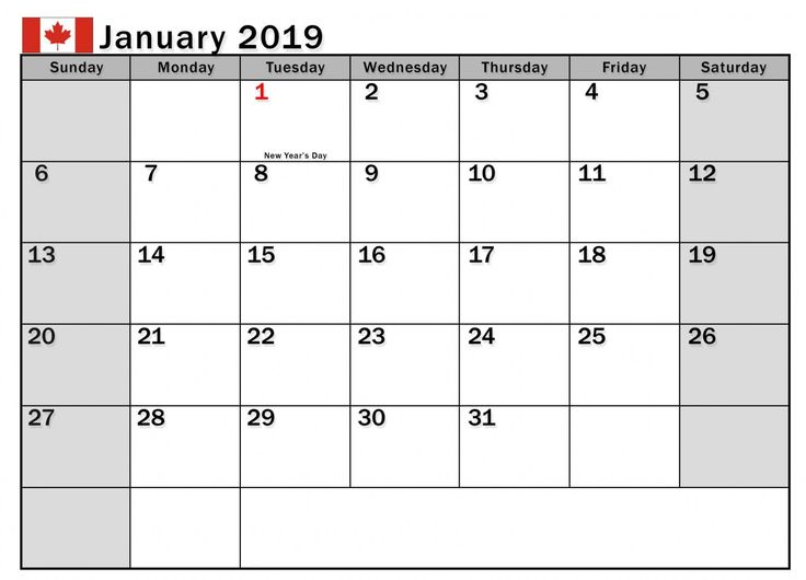 2019 January Calendar Canada Template January 2019 Calendar