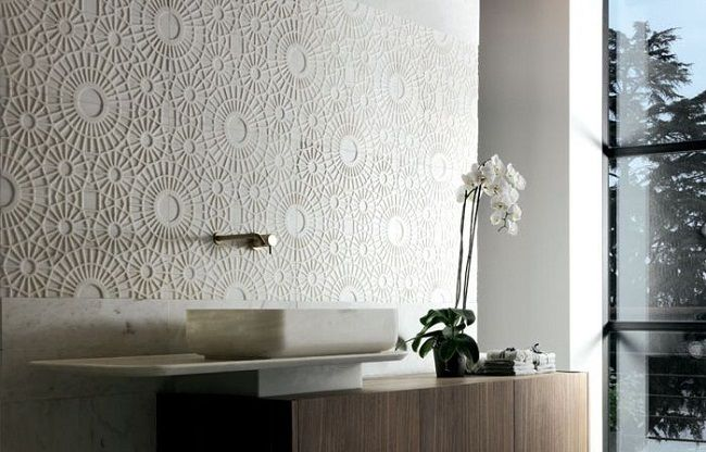 4-decor baie finisata cu placi de marmura dantelata Rondo by Enzo Berti