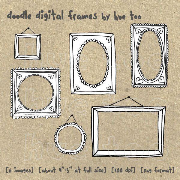 digital frames, hand drawn doodle frames, digital photography ...