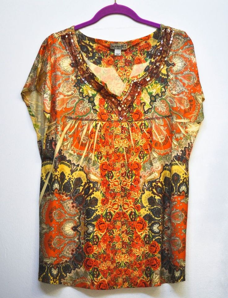 One World Women Blouse Sequin Embroidered Multi Color Short Sleeve size M NEW #OneWorld #Blouse #Casual