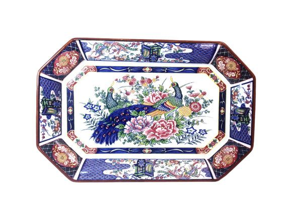 Large Vintage Peacock Platter - Japanese Housewares - Thanksgiving Dinnerware - Turkey Platter - Chinoiserie Blue White Dishes - Holiday Dinner Party