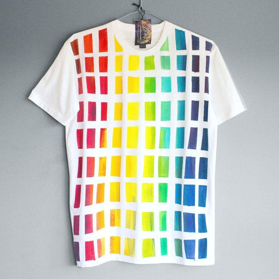 BEHIND THE RAINBOW. 100% cotton T shirt. Hand painted. by Smukie